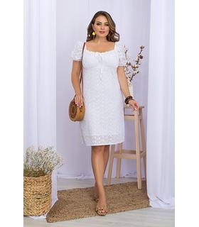 Сукня Бажена ПК WH, плаття батал з прошви