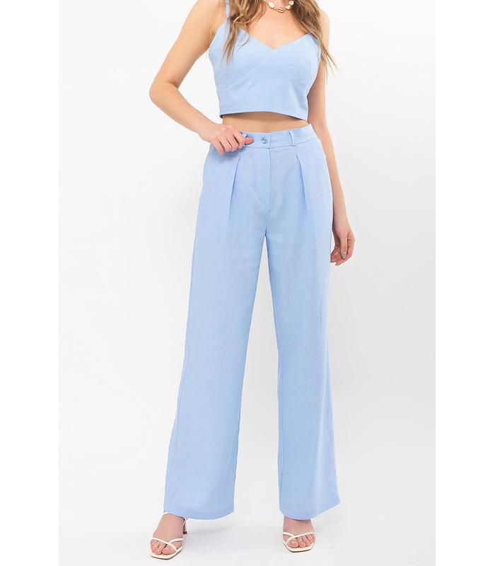 Брюки Фокс BB, блакитні штани з льону