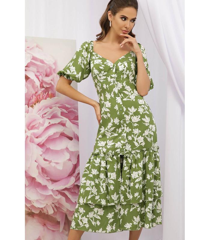 Сукня Аделаіда GR, зелена сукня з квітами