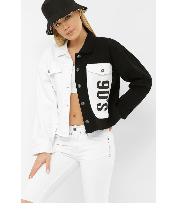 Джинсовая куртка 211890 AST VА WH, черно-белая куртка