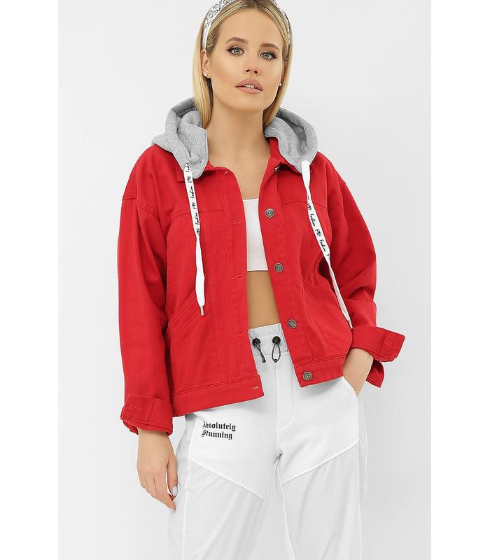 Джинсова куртка 1023 AST VА RE, червона джинсова куртка з капюшоном