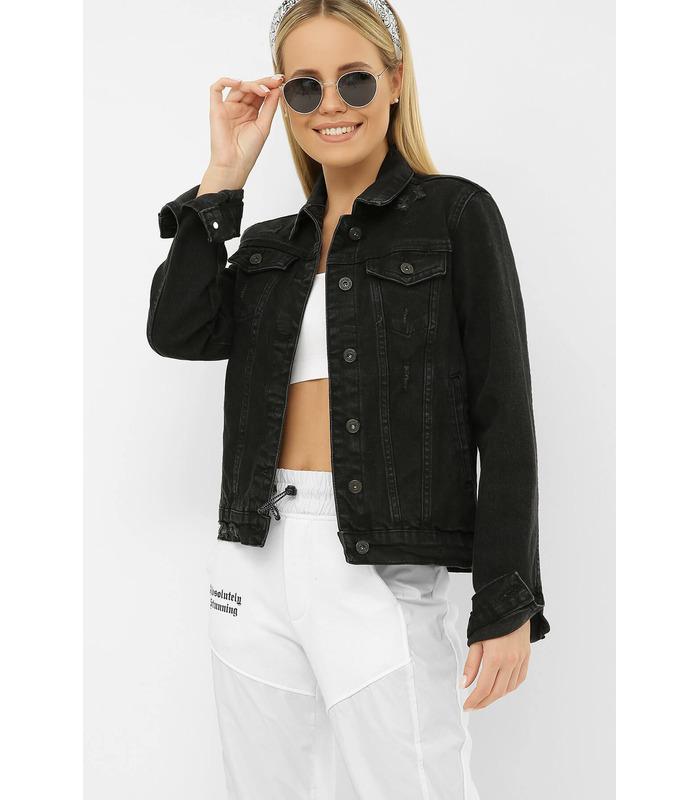 Джинсова куртка 2085 VO-D PT, чорна жіноча куртка