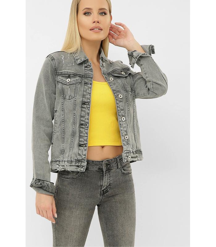Джинсова куртка 2085 VO-D GR, сіра жіноча куртка