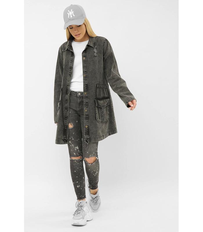 Джинсовая куртка 193 AST VА GR, длинная джинсовая куртка
