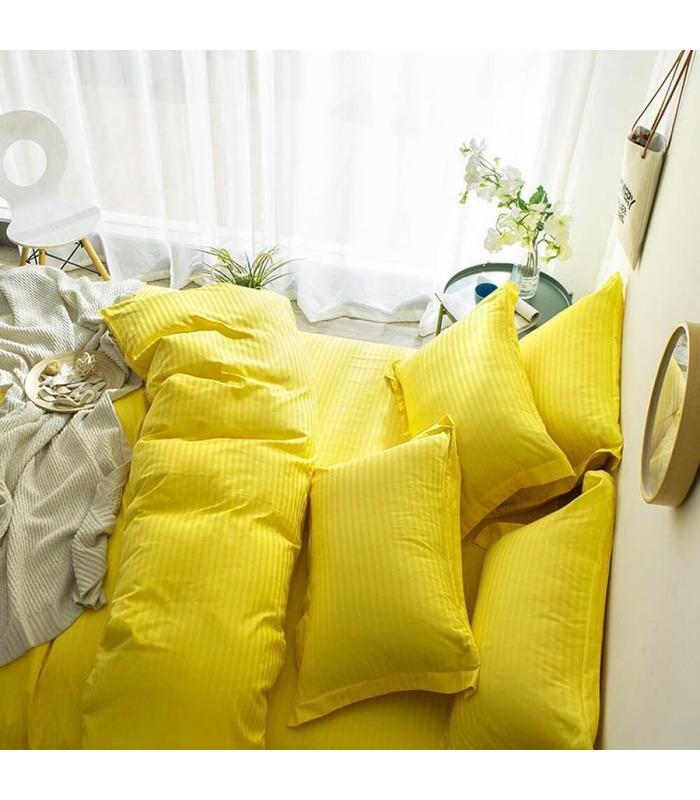 """Комплект постільної білизни """"Lux Yellow"""" Сатин Stripe зі 100% бавовни, смуга 1/1 см"""