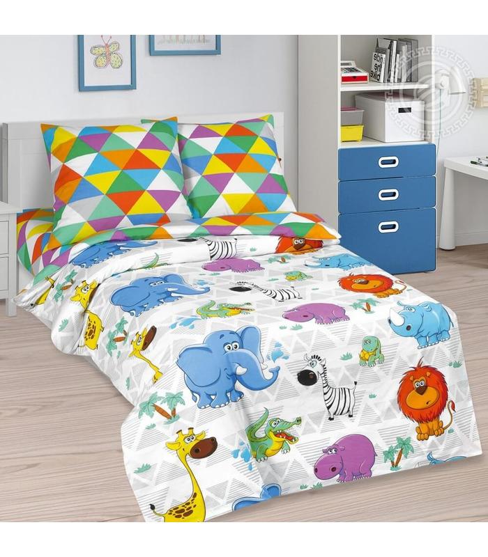 """Детское постельное белье """"Веселый зоопарк"""" ᐉ натуральная ткань поплин, пошито в Украине"""