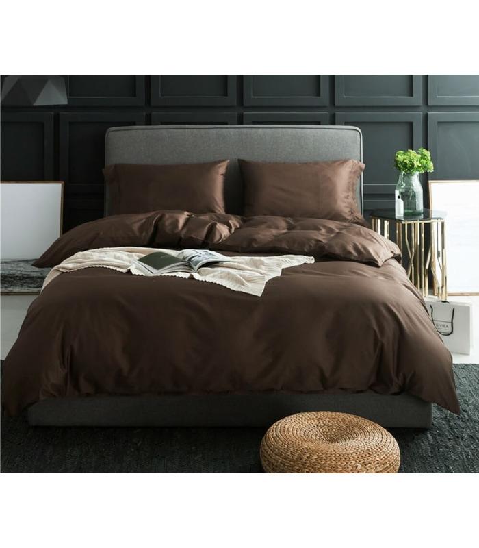Комплект постельного белья DarkChocolate №154 ᗍ сатин ※ Украина, натуральная ткань