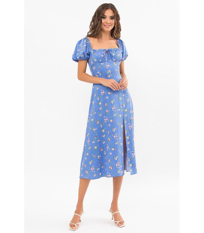 Платье Билла BB, голубое платье в цветочек