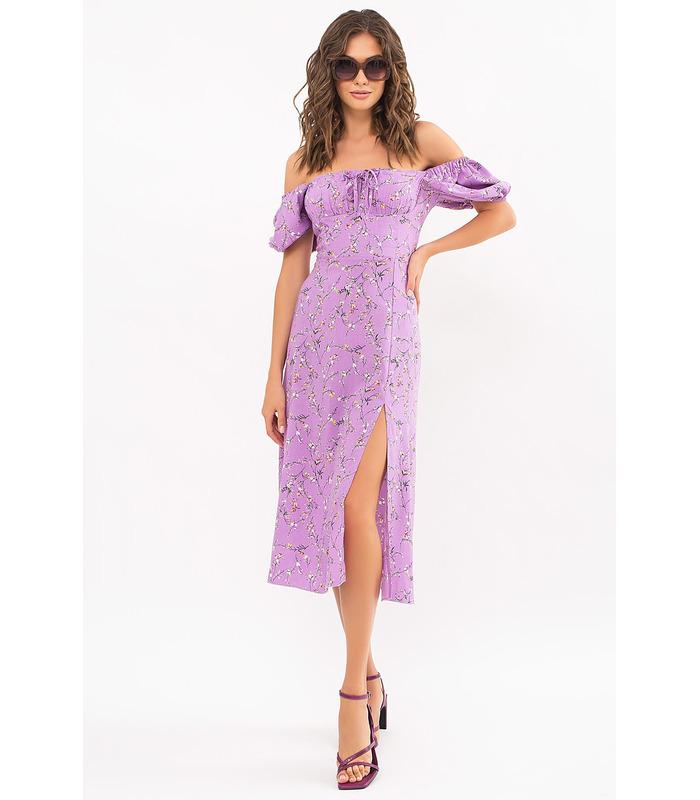 Платье Билла LI, фиолетовое платье в цветочек