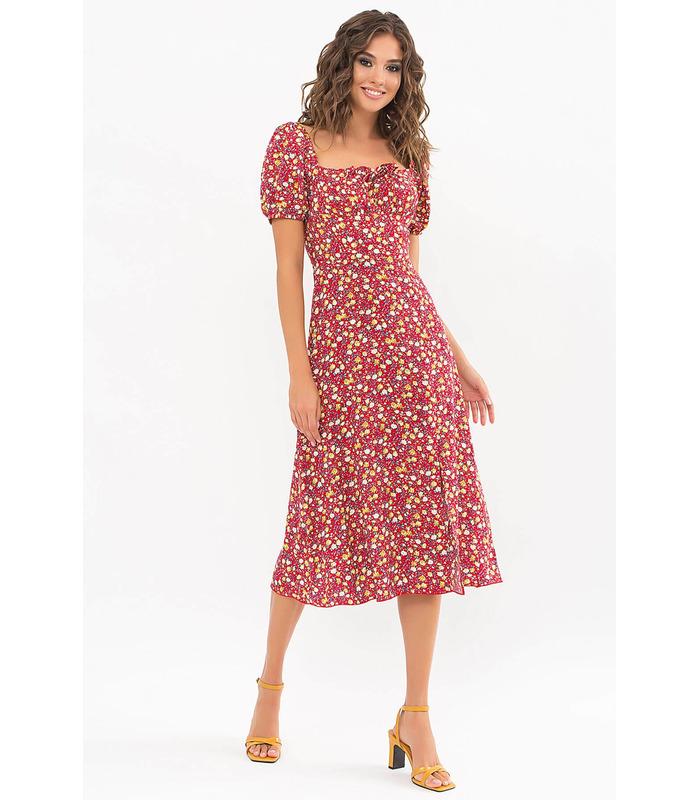 Платье Билла RE, красное платье в цветочек