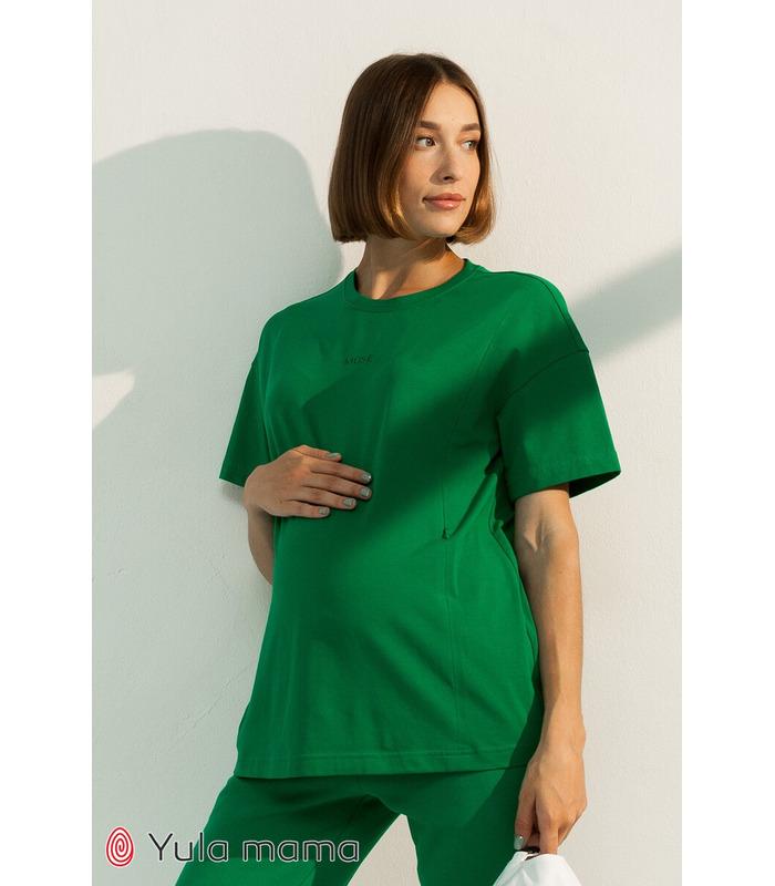 Футболка Муза GR, зеленая футболка для кормления и беременным