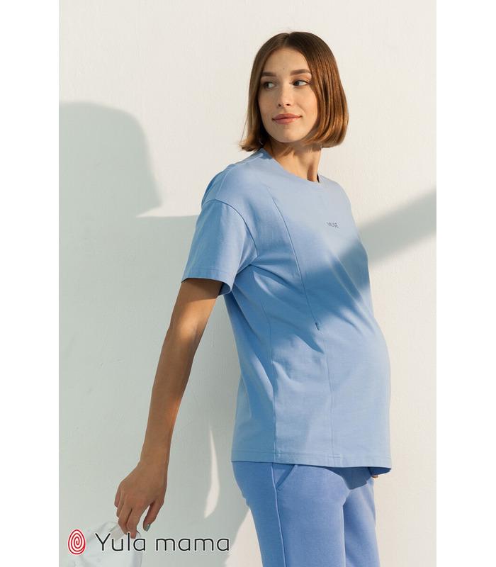 Футболка Муза BB, голубая футболка беременным и кормящим